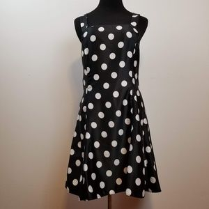 Jessica McClintock black polka dot open back dress